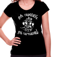 Camiseta Diseño Oh capitán blanco - Mujer