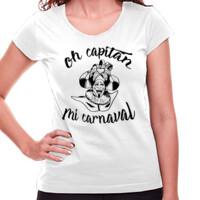 Camiseta Diseño Oh capitán negro - Mujer