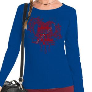 Camiseta manga larga Corazón Yo me enamoré de ti color burdeos para Mujer