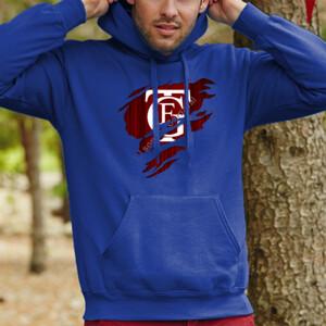 Sudadera con capucha azul de hombre con el Logo del Falla Saliendo del Pecho