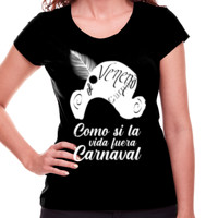 Camiseta Como si la vida fuera carnaval en Blanco - Mujer