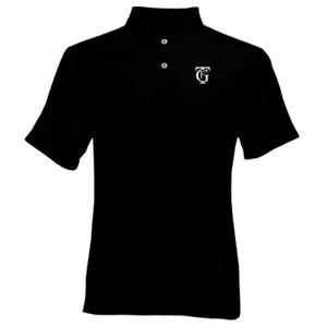 Polo color negro con logo del gran teatro Falla color blanco