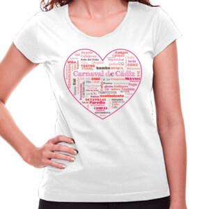 Corazón de Carnaval de Cádiz - Camiseta blanca de manga corta de mujer