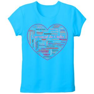 Camiseta de color manga corta diseño corazón de carnaval -Tallas grandes