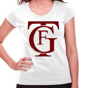 Camiseta blanca manga corta con logo de Falla burdeos