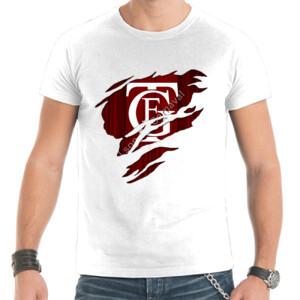 Camiseta blanca manga corta de hombre con el Logo GTF Saliendo del Pecho