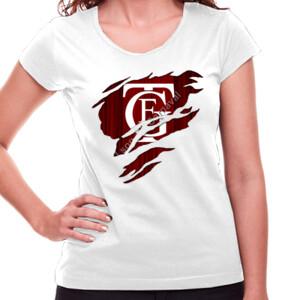 Camiseta blanca de manga corta con el Logo GTF Saliendo del pecho