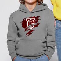 Sudadera gris de niño con logo GTF saliendo del pecho