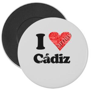 Chapa con imán 38mm I love Cádiz