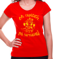 Camiseta Diseño Oh capitán amarillo - Mujer